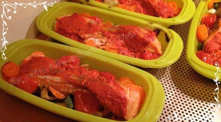 Saumon frais et petits légumes en papillotes