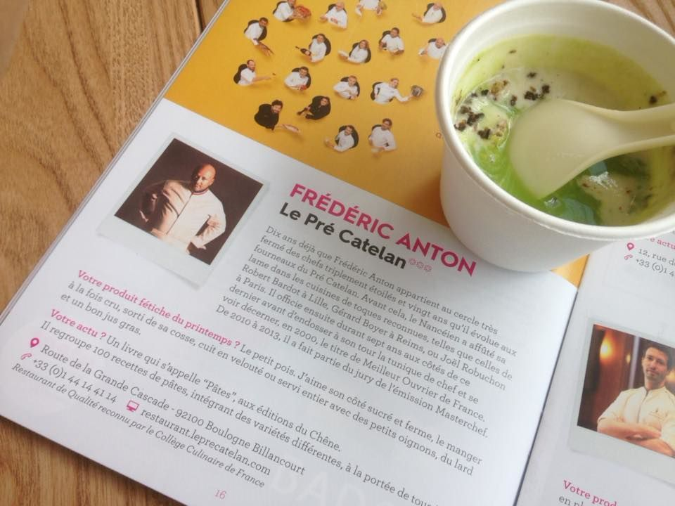 """""""Le petit pois, préparé en crème, chaud froid d'oignons nouveaux, riz soufflé croustillant, muscade et truffe"""" de Fréderic Anton"""