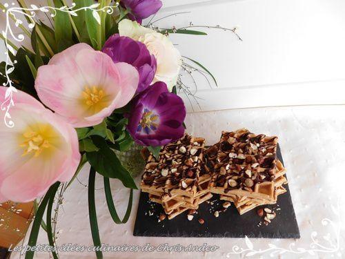 Gaufres chocolat & noisette sans gluten, sans sucre ni beurre