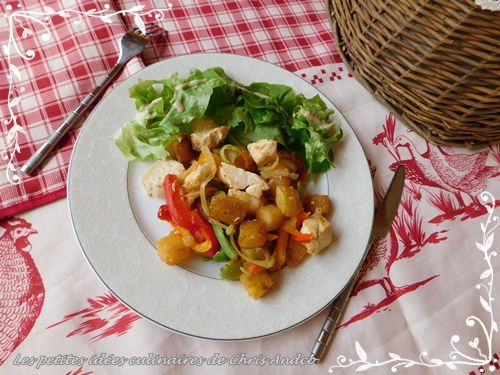 Sauté de poulet aux petits légumes colorés & pommes de terre rissolées du Sud-Ouest