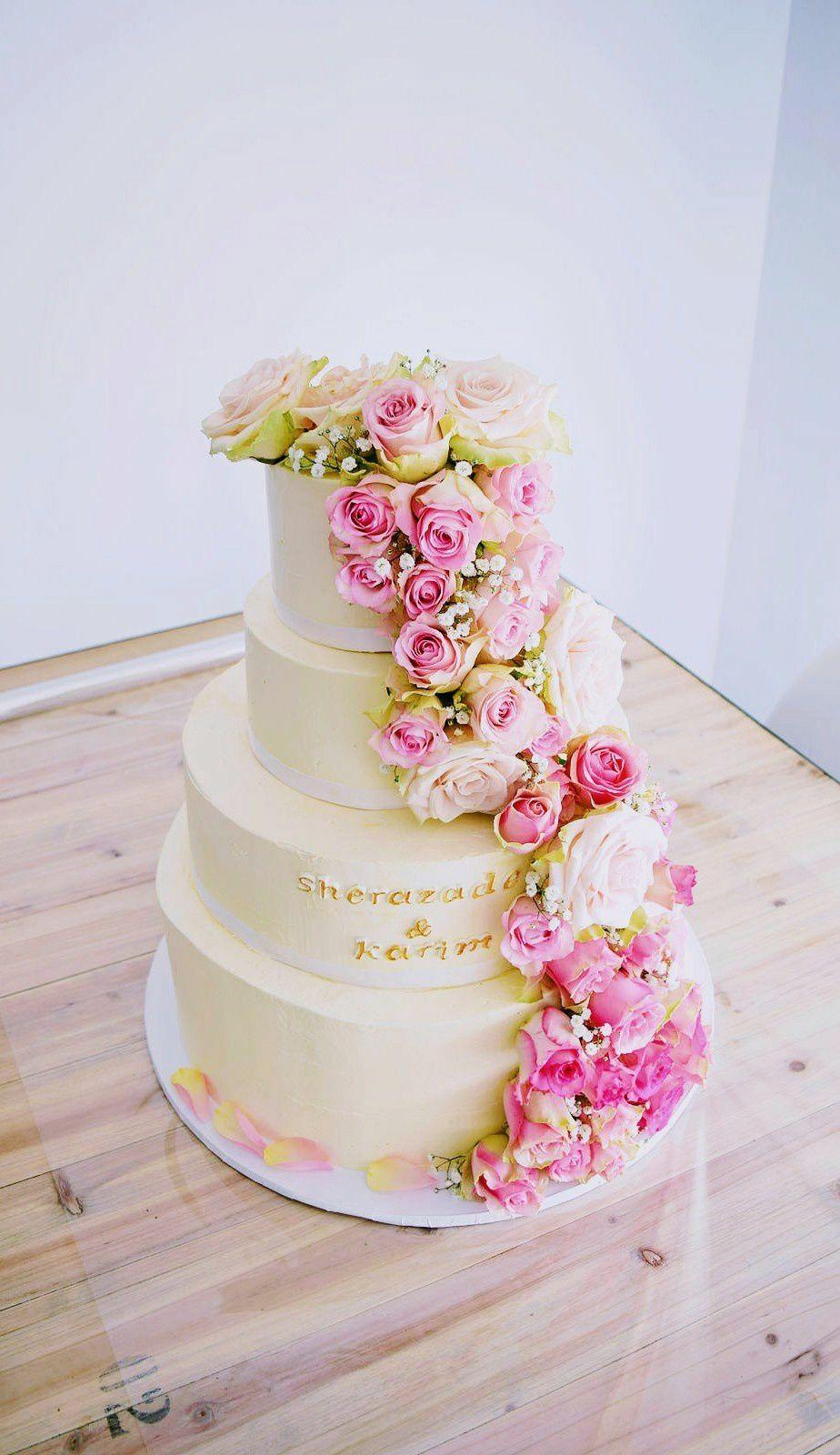 Wedding Cake cascade de roses en dégradé