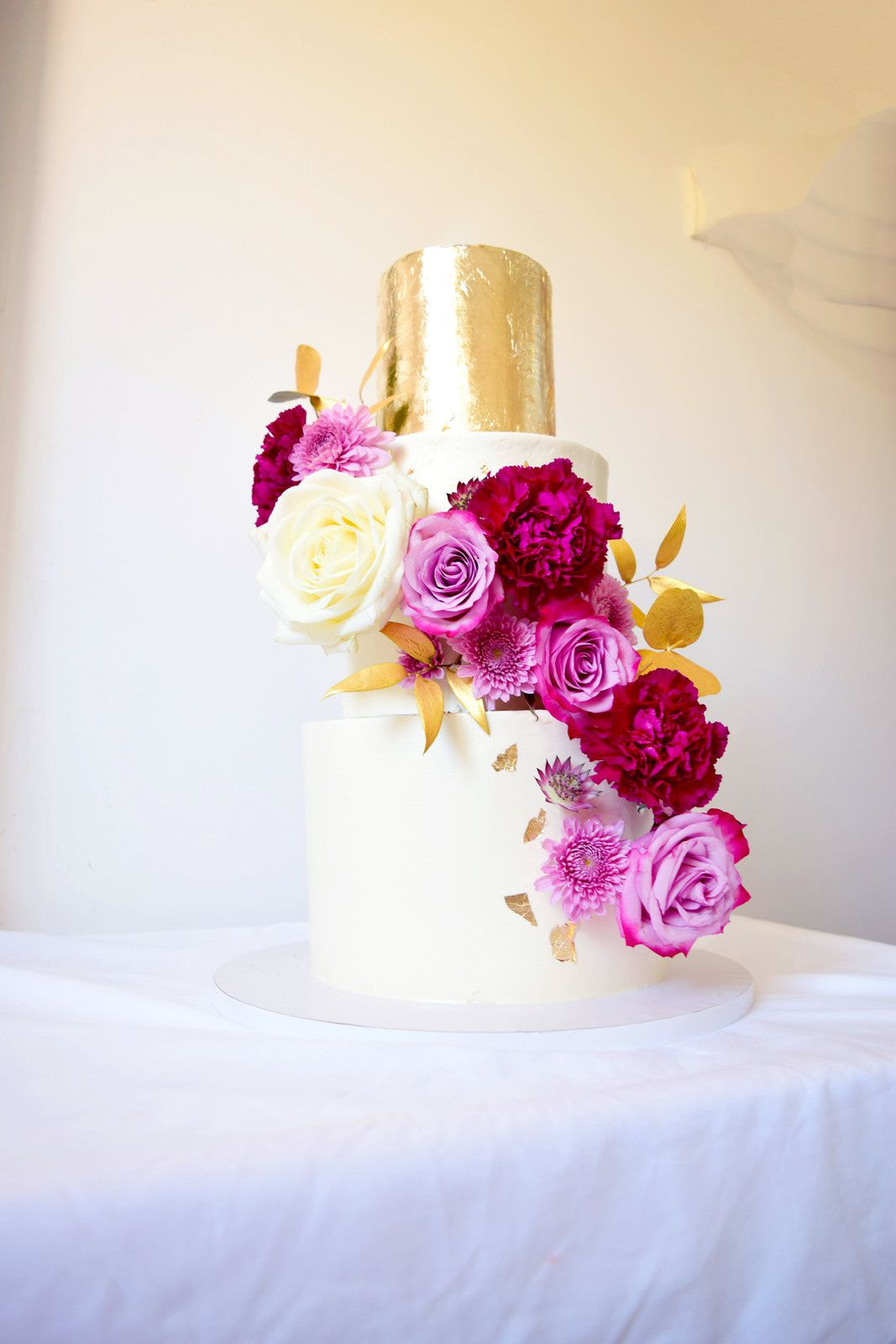 Burgundy & Gold Wedding Cake