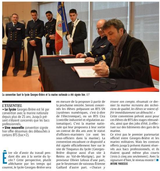 Convention Lycée G. Brière/Marine nationale