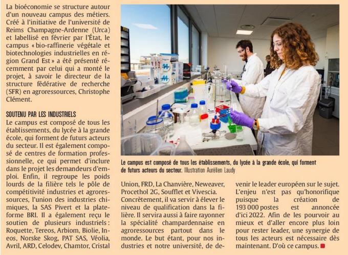 Campus des métiers et des qualifications  bio raffinerie végétale - biotechnologies industrielles