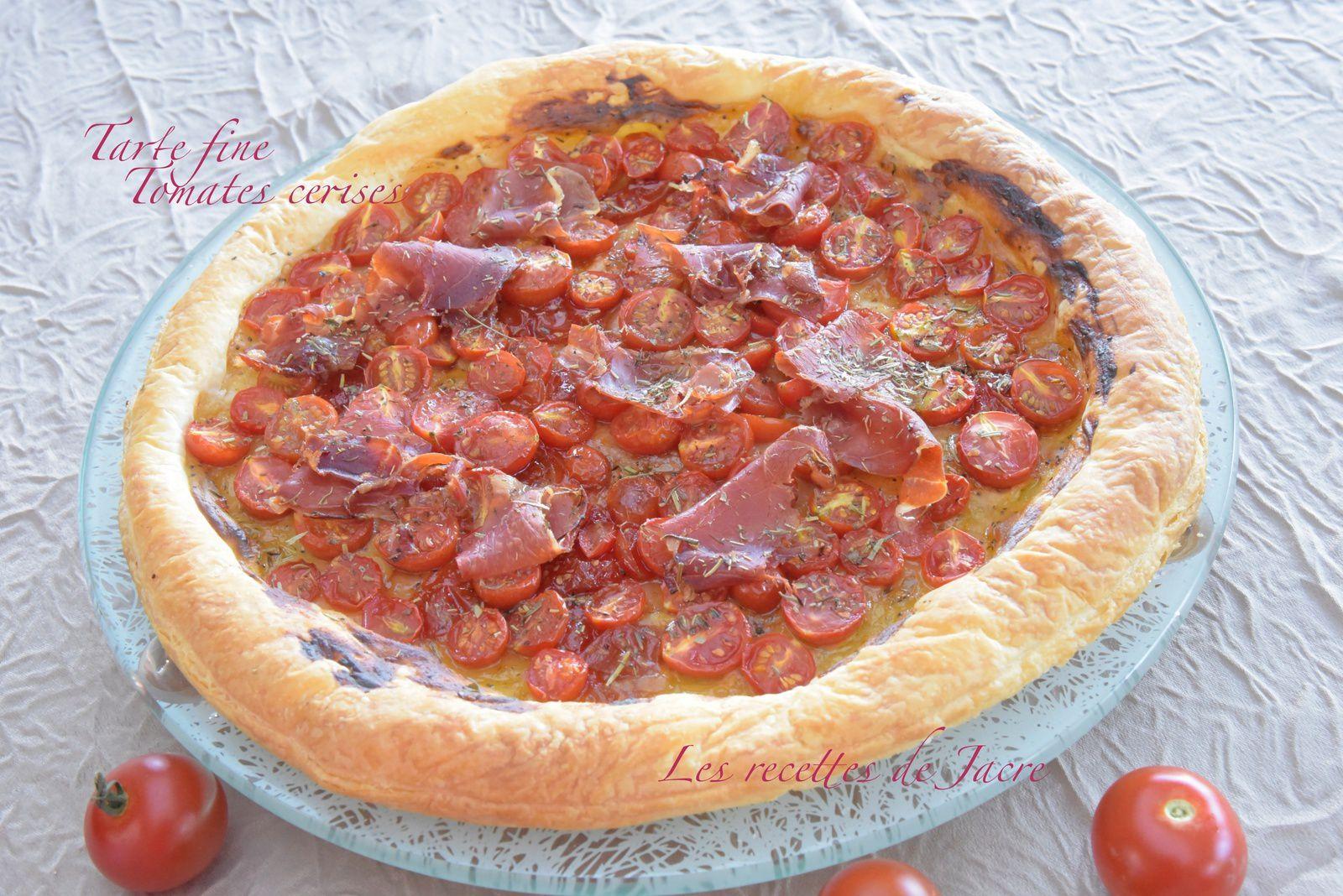 Tarte fine aux tomates cerises et jambon de pays