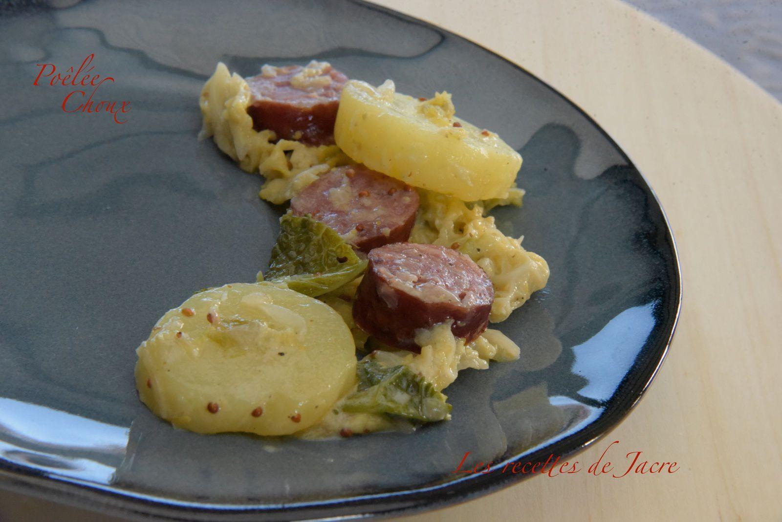 Poêlée de pommes de terre, choux vert et saucisse