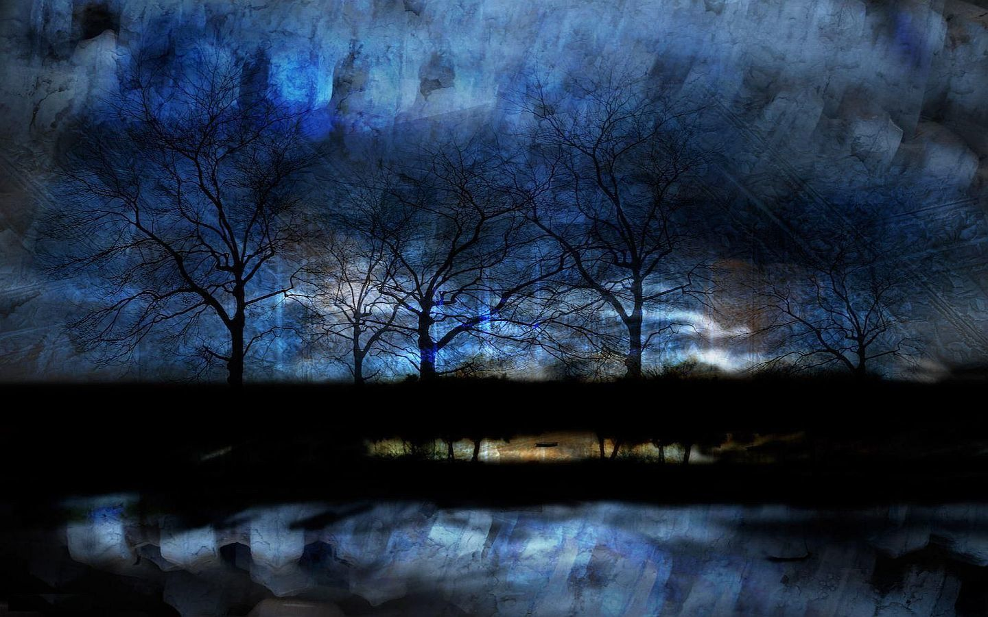 Paysage - Arbres - Nuit - Wallpapers - Free