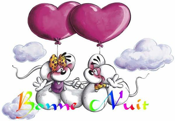 Bonne Nuit - Diddl & Diddlina - Amour - Ballons - Coeurs - Pictures