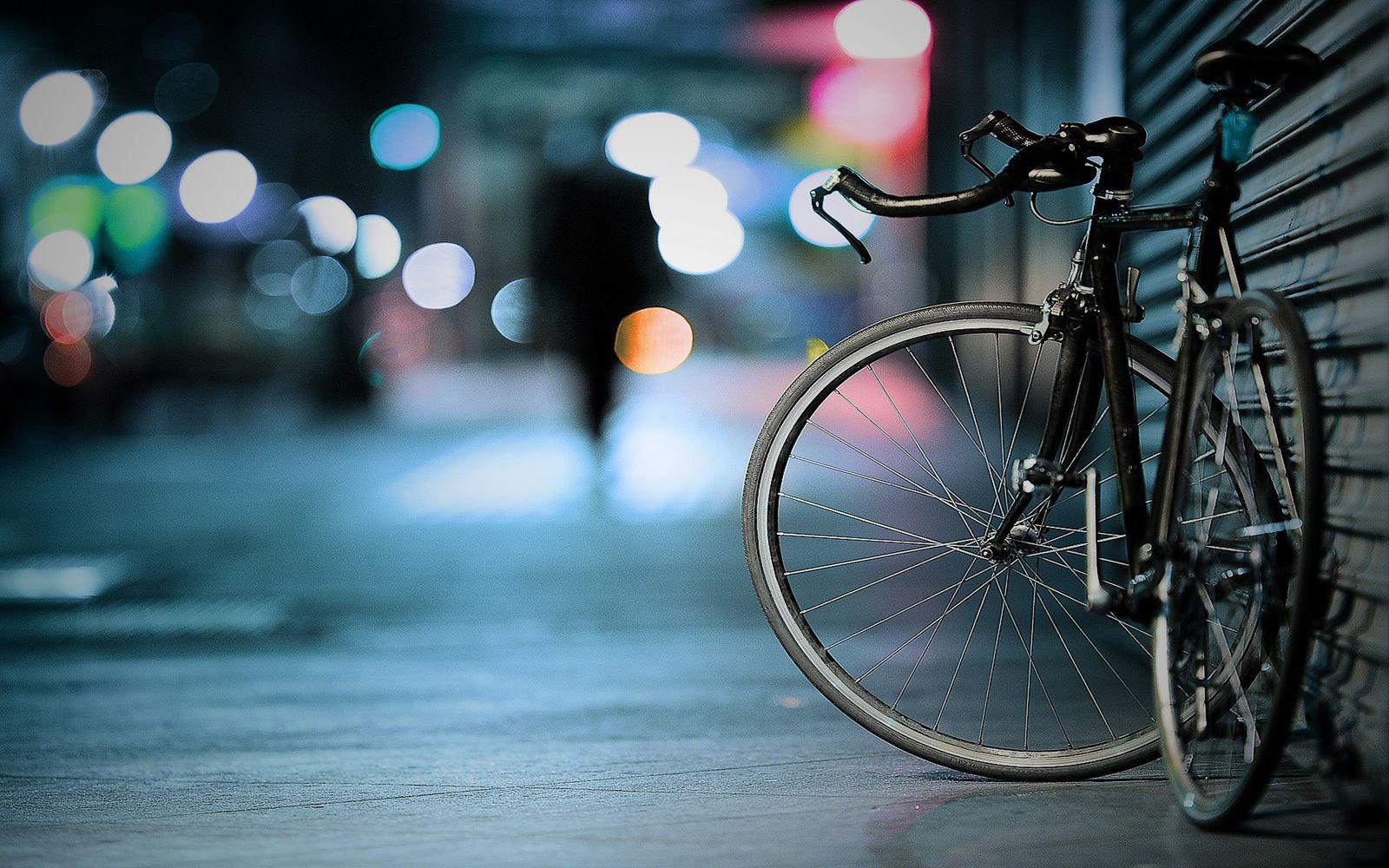 Bicyclette - Nuit - Rue - Lumières - Wallpaper - Free