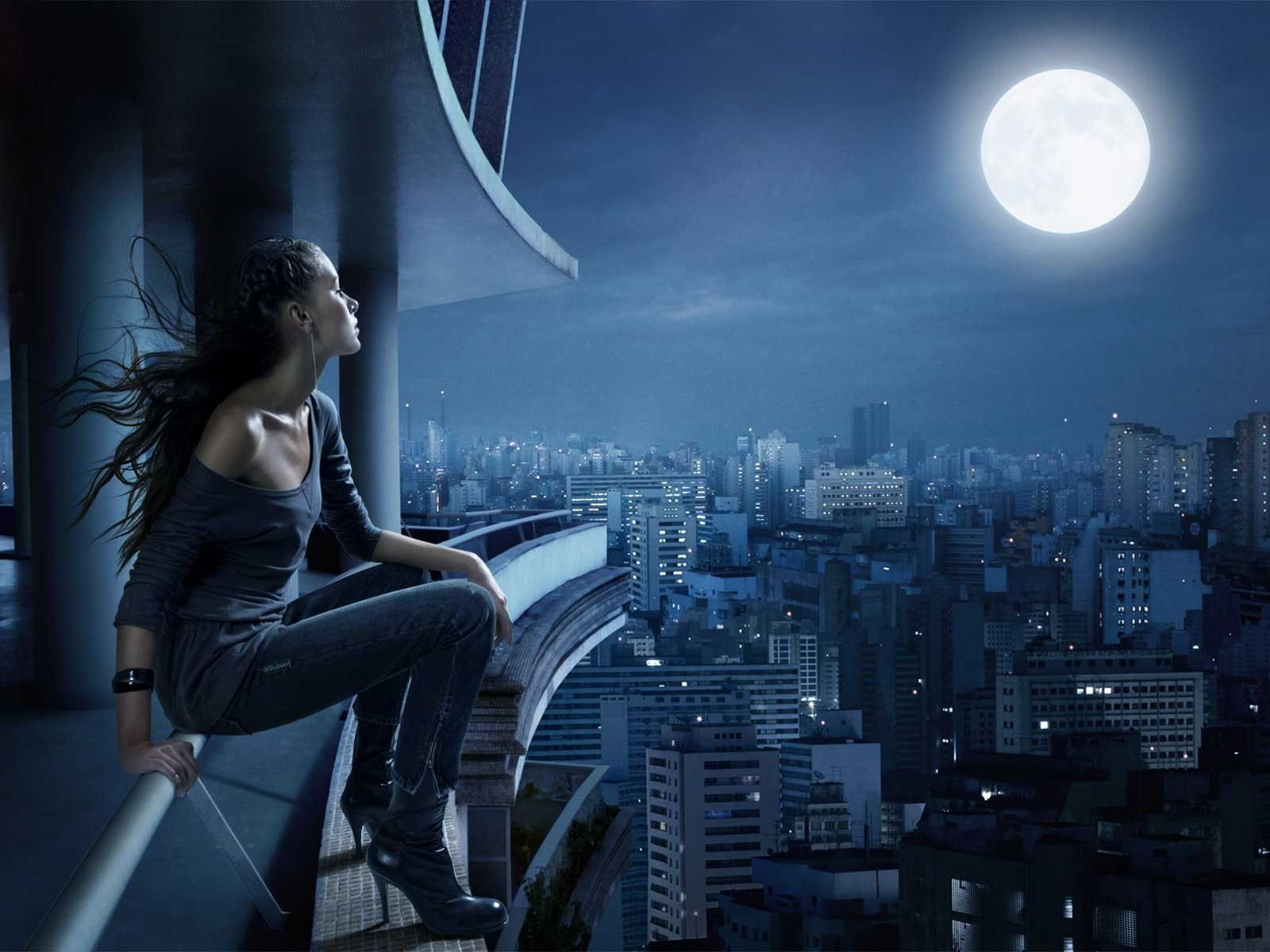 Femme - Lune - Nuit - Wallpapers - Free