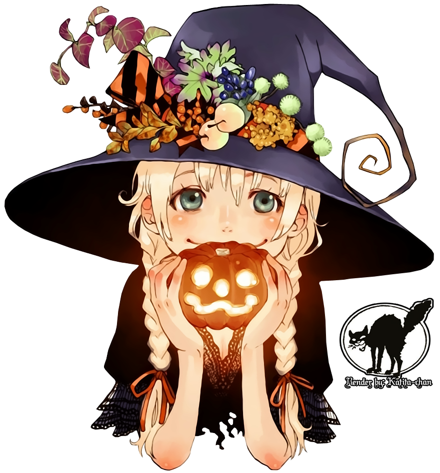 Manga - Sorcière - Citrouille - Halloween 2015 - Render - Tube
