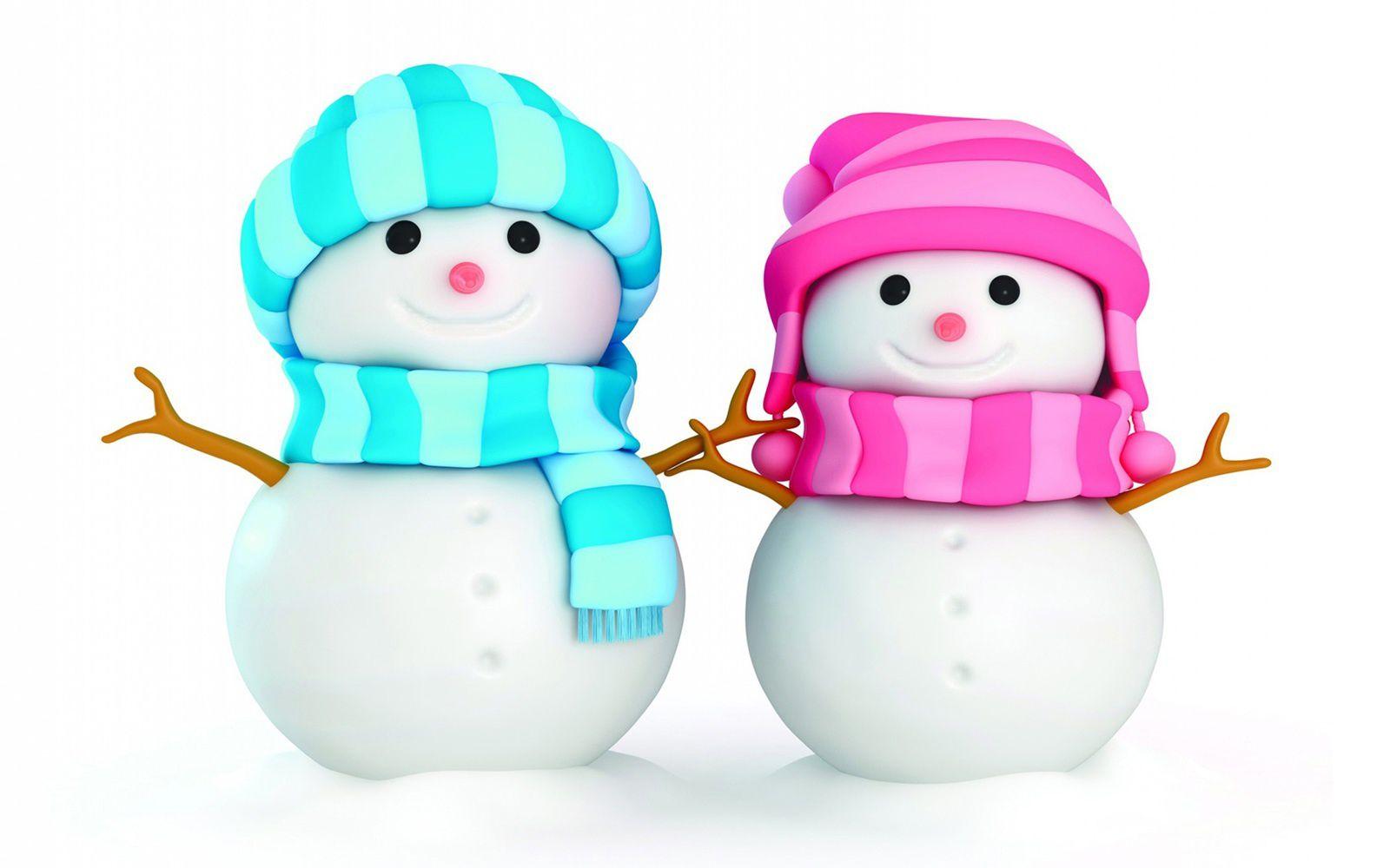 Bonhomme de neige - Couple - Neige - Wallpaper - Free
