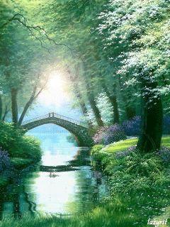 Arbres - Pont - Nature - Gif animé - Scintillant - Gratuit