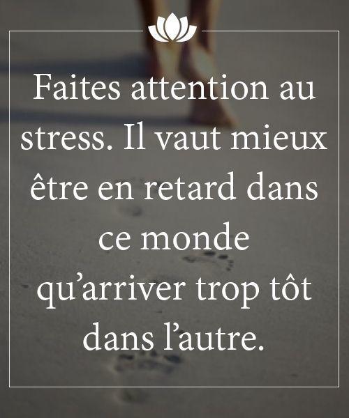 Faites attention au stress. Il vaut mieux être en retard dans ce monde qu'arriver trop tôt dans l'autre - Citation - Picture - Free