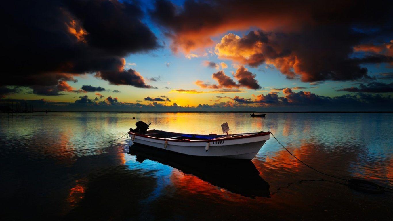 Mer - Barque - Lever de soleil - Paysage - Wallpaper - Free