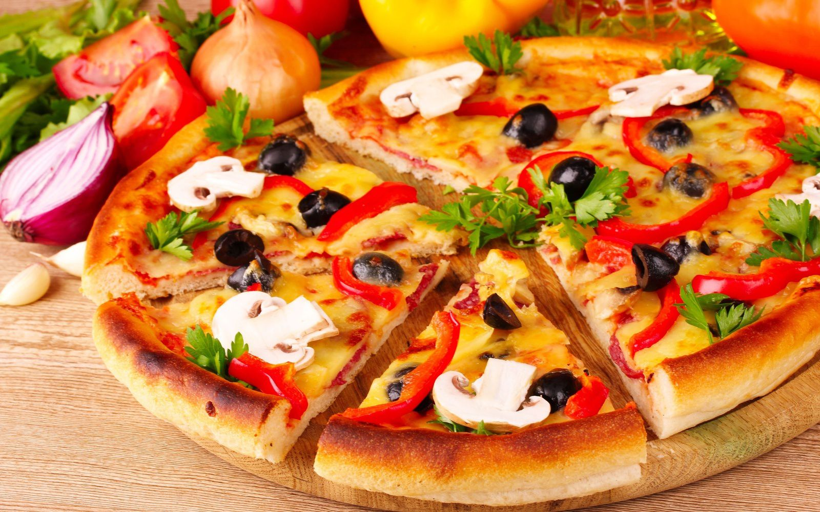 Bon appétit - Pizza - Fromage - Légumes - Wallpaper - Free