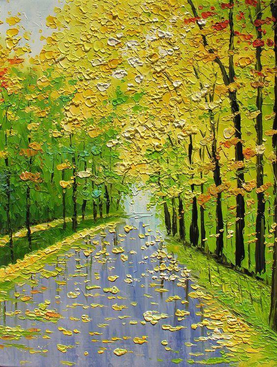 Arbres - Automne - Pluie - Chemin - Peinture - Picture - Free