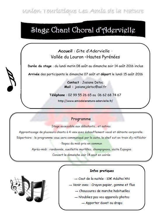 Stage Chant Choral à Adervielle 2016