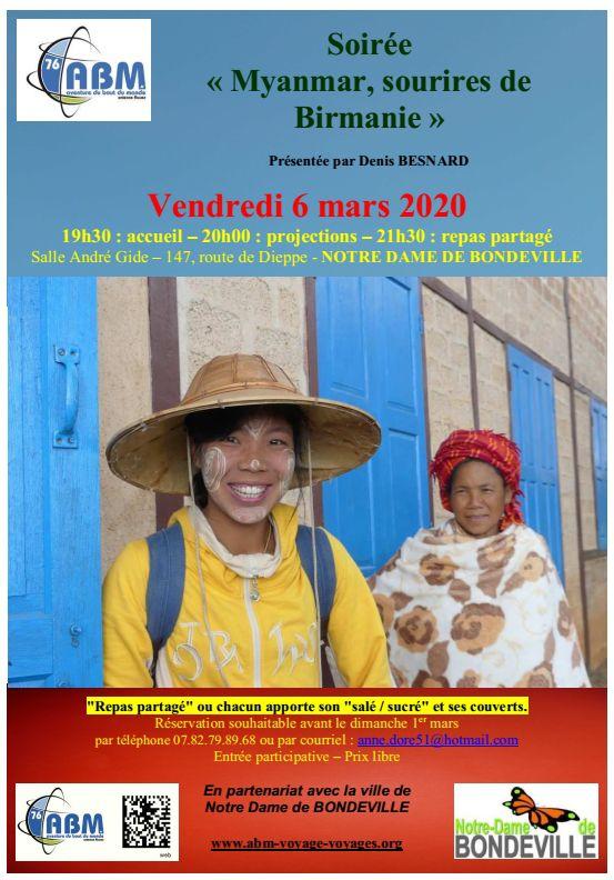 """Soirée du vendredi 6 mars 2020    """"Myanmar, sourires de Birmanie"""""""