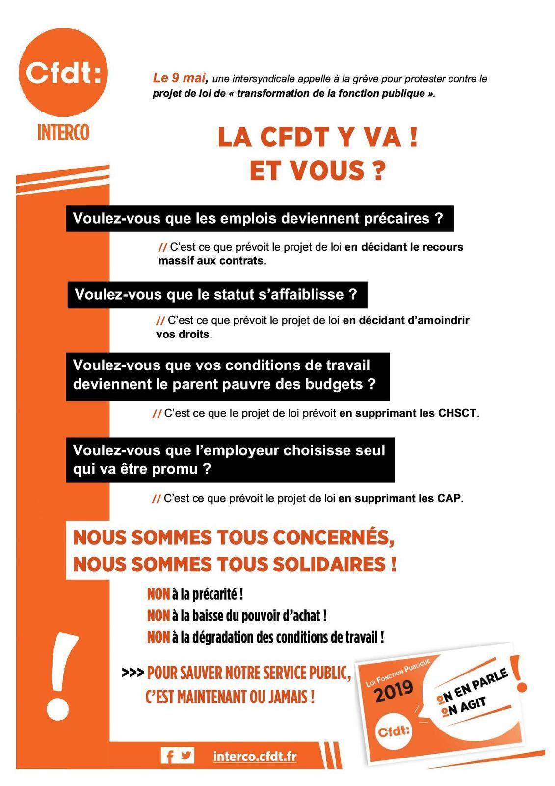 Réforme de la Fonction Publique : Mobilisation du jeudi 09 Mai