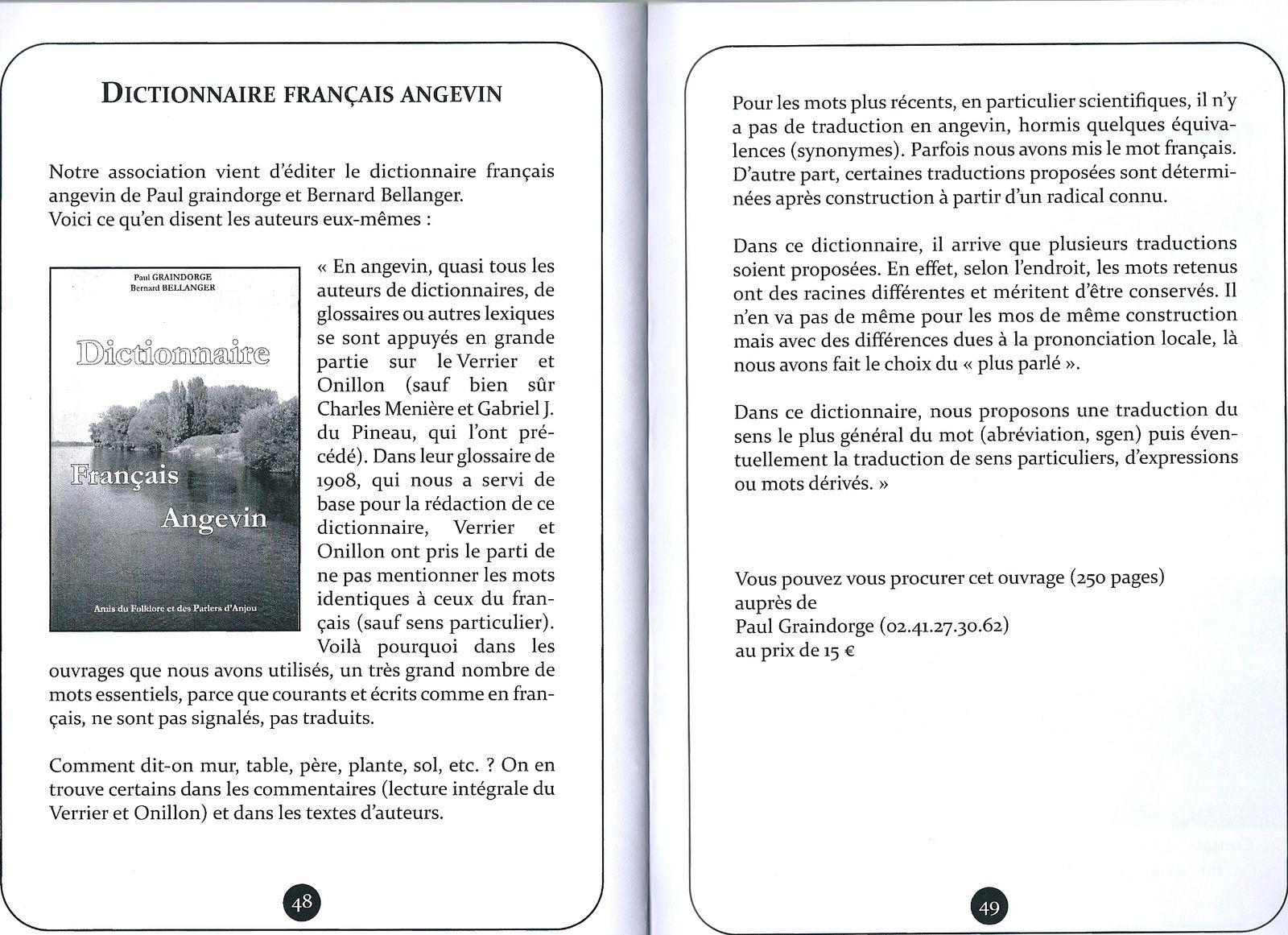 Nouveau !  Un dictionnaire Français Angevin