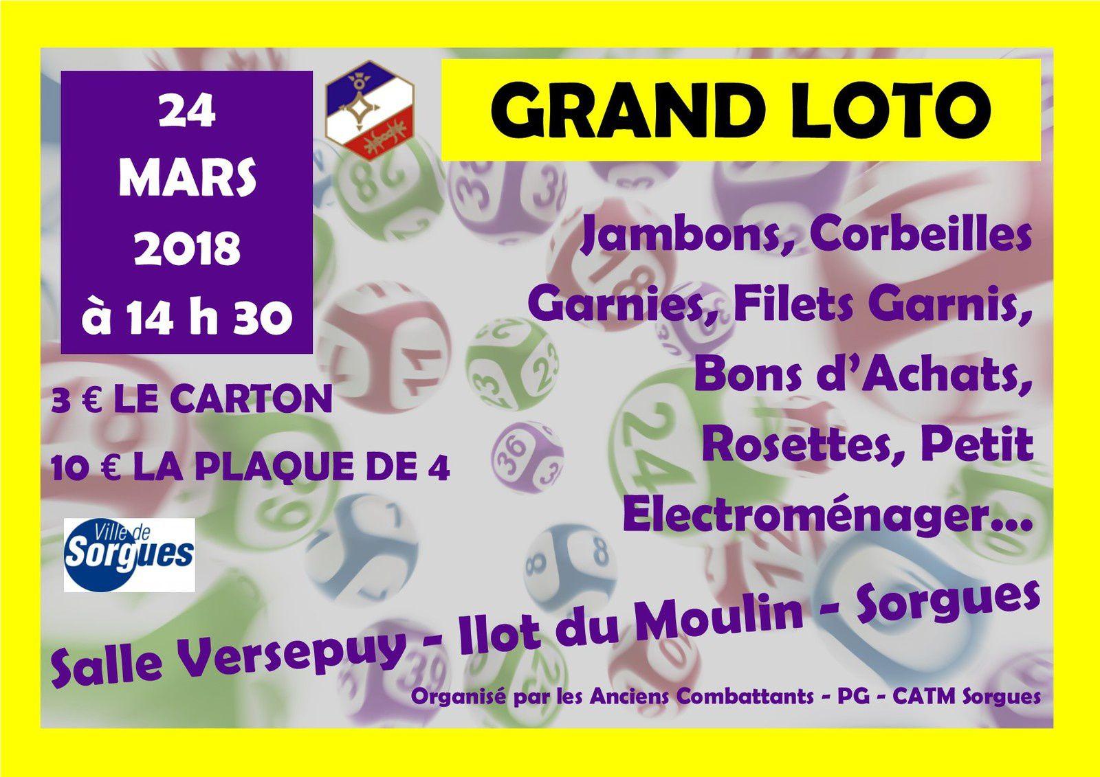 Loto de notre section du 24 mars 2018 à 14 h 30 - Salle Versepuy
