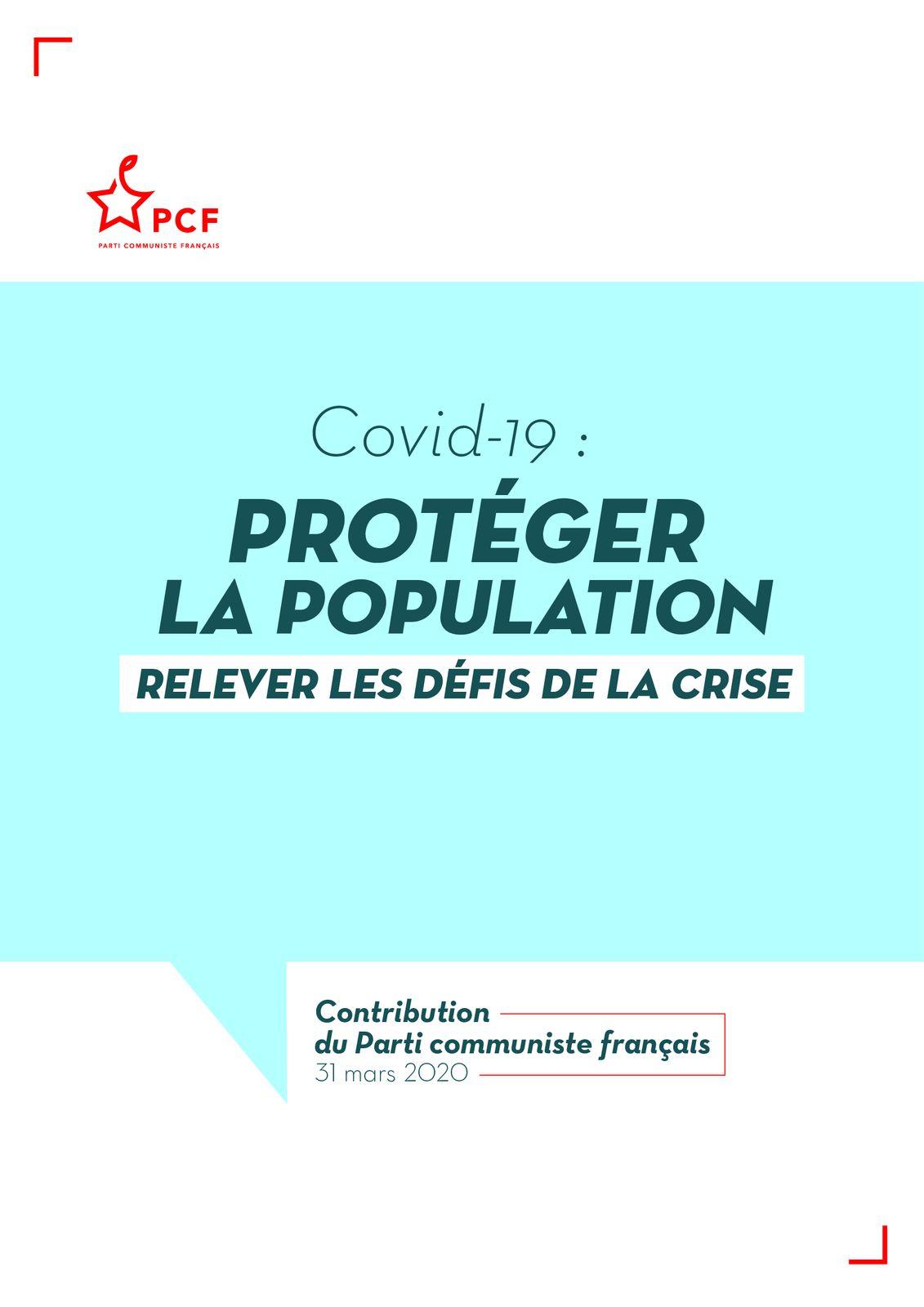 COVID 19 : CONTRIBUTION DU PARTI COMMUNISTE FRANCAIS - 31 MARS 2020