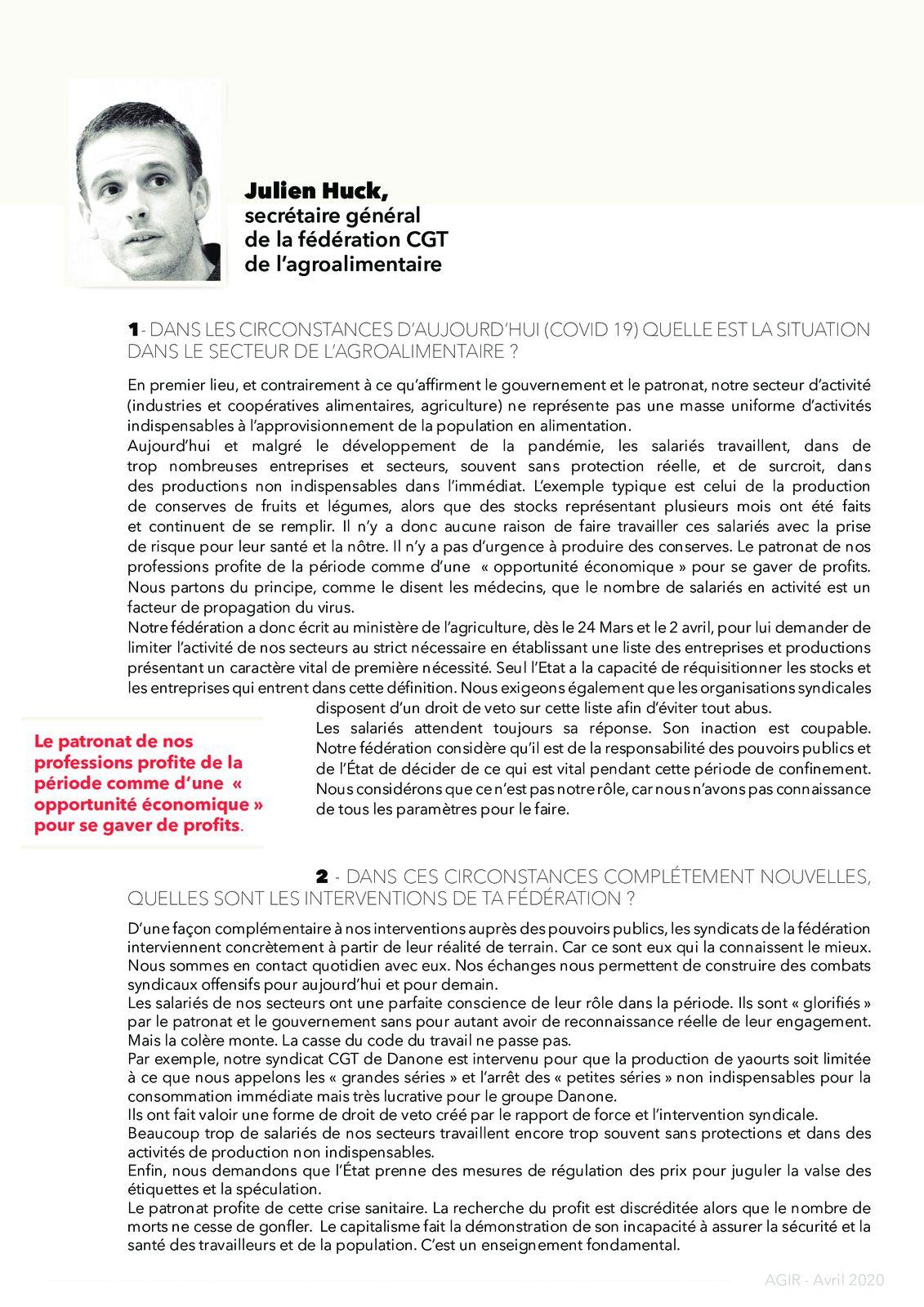 """""""AGIR"""" le journal des communistes à l'entreprise - Avril 2020"""