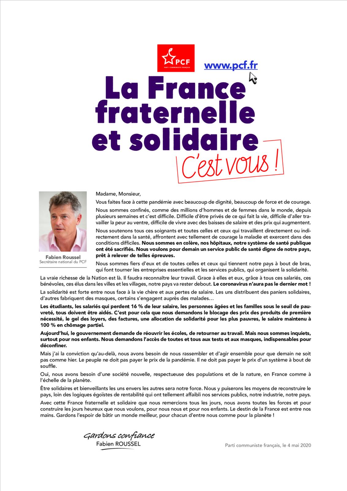 """""""La France fraternelle et solidaire, c'est vous"""" : lettre de Fabien Roussel aux Français.es"""