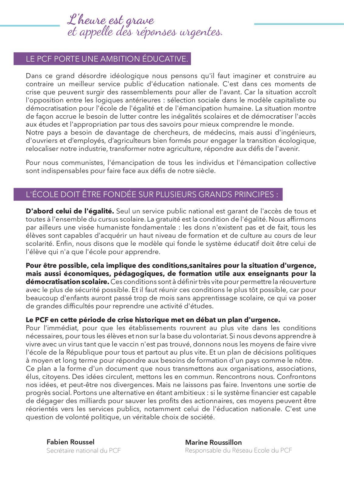Lettre ouverte de Fabien Roussel, secrétaire national du PCF, aux acteurs de l'Education