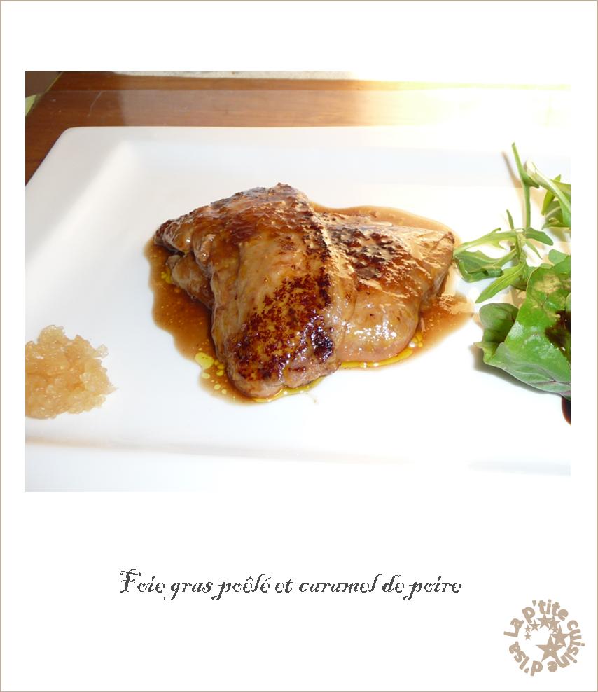 Foie gras poêlé et caramel de poire