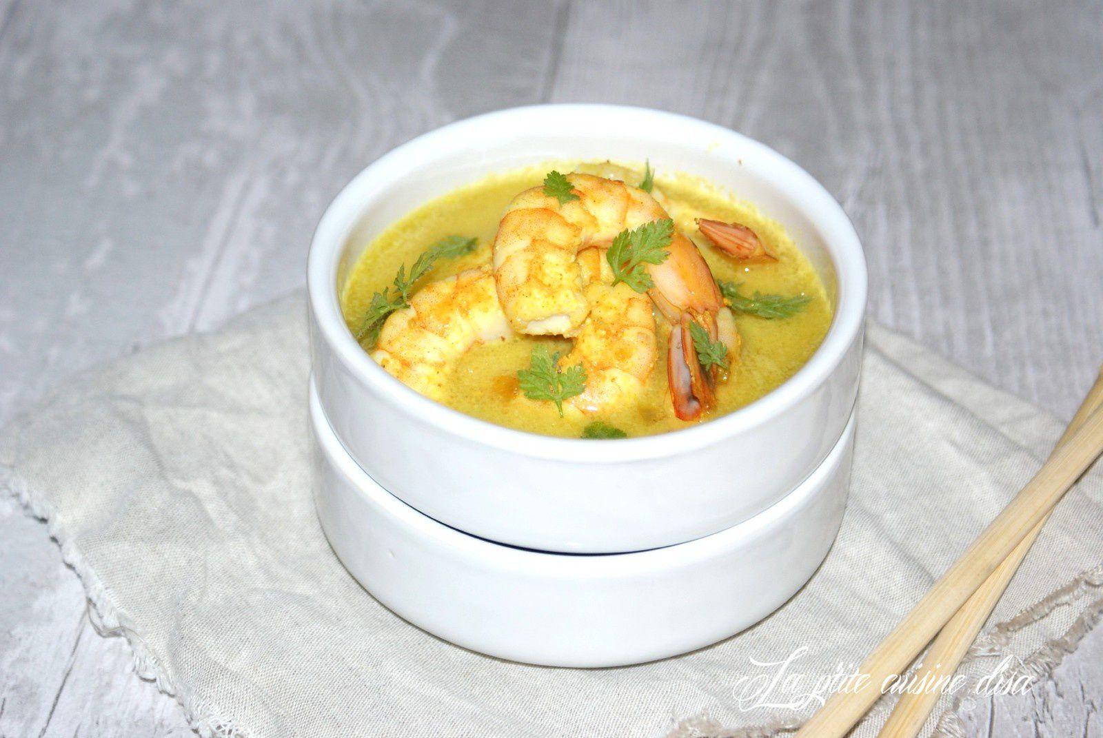 Crevettes au curry et lait de coco