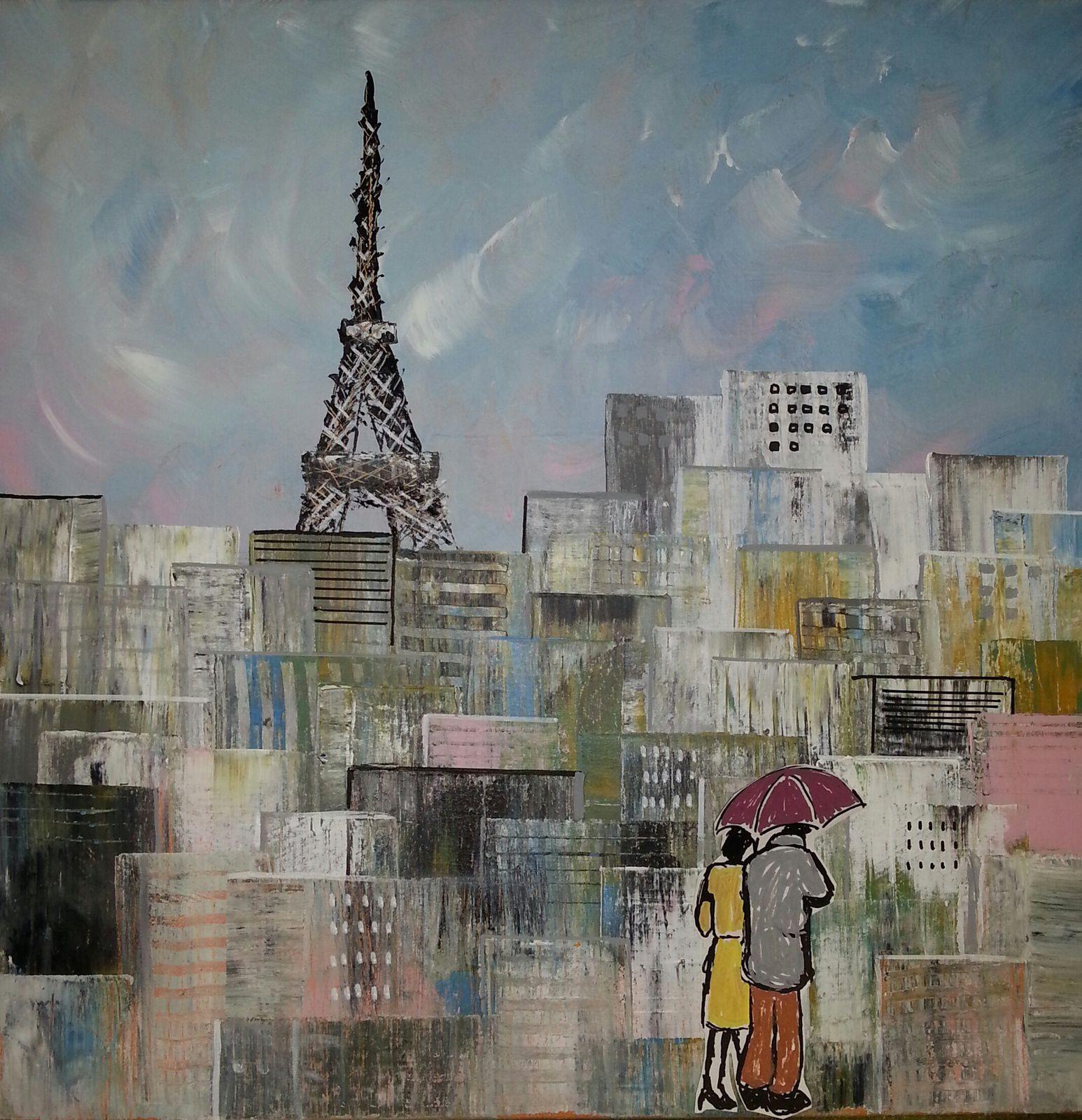 """""""Balade parisienne"""", technique-mixte sur toile, format : 50x50, prix 245 euros"""