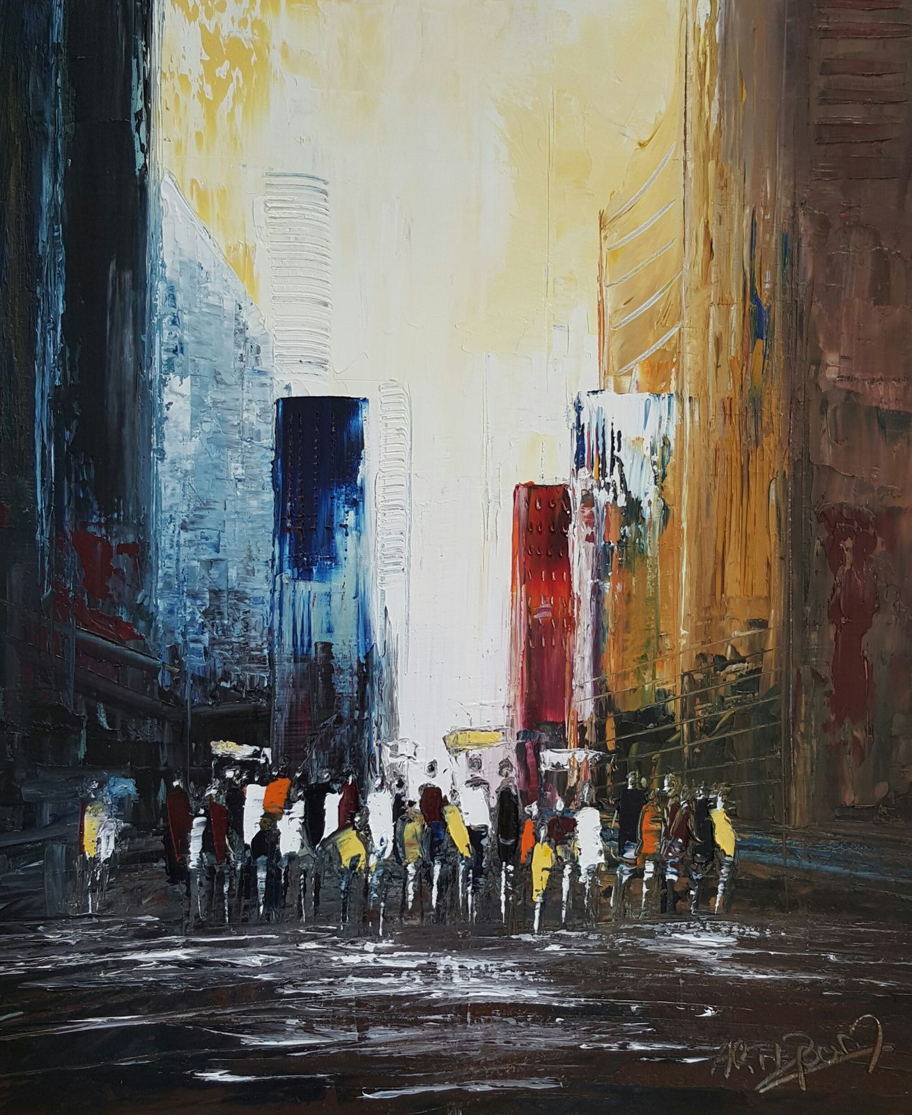 Le défilé, huile sur toile, format 46x55, disponible