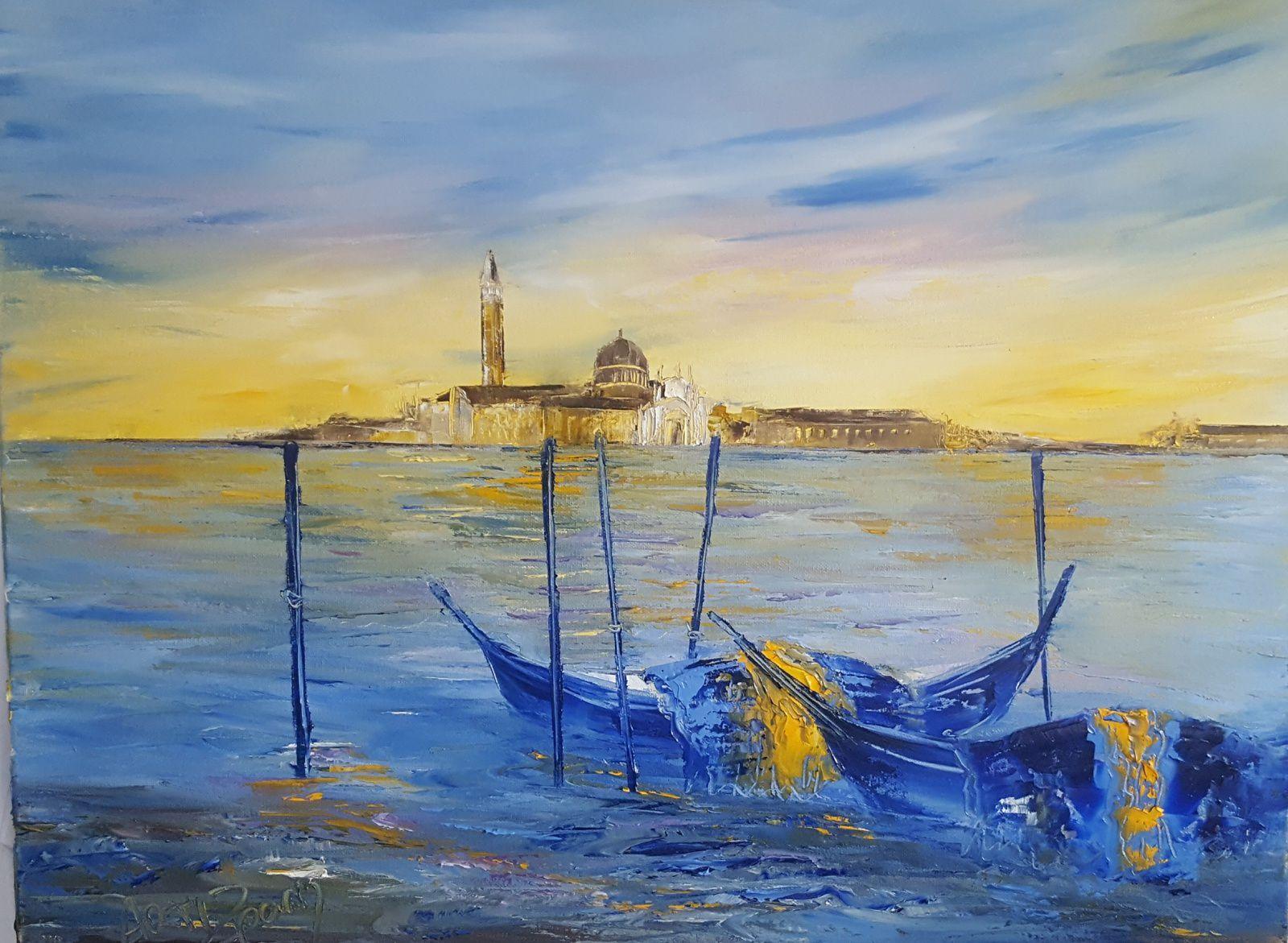 Les gondoles, huile sur toile, format 61x46, disponible