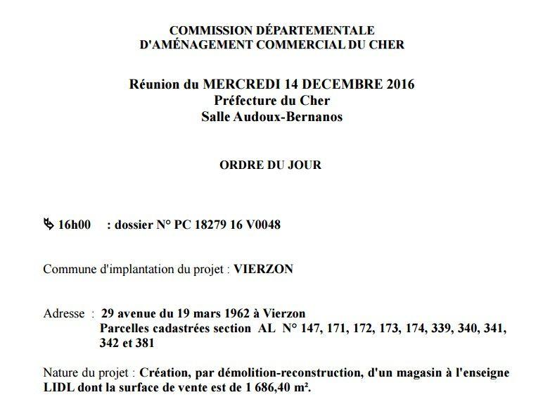 Lidl  autorisé à s'agrandir en décembre 2016, rien fin 2018