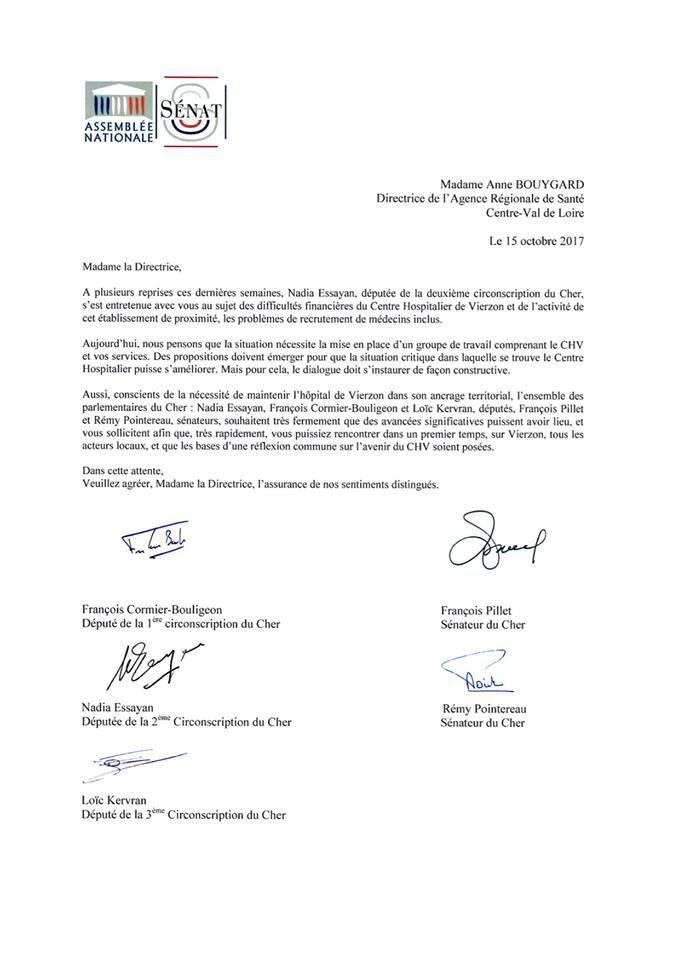 La lettre est signée des trois députés et des deux sénateurs du Cher. Elle demande à l'Agence régionale de santé une rencontre sur Vierzon.