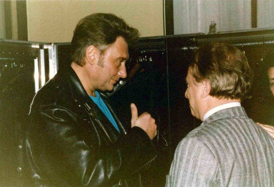 Johnny Hallyday avec Jean Rousseau alors maire de Vierzon.