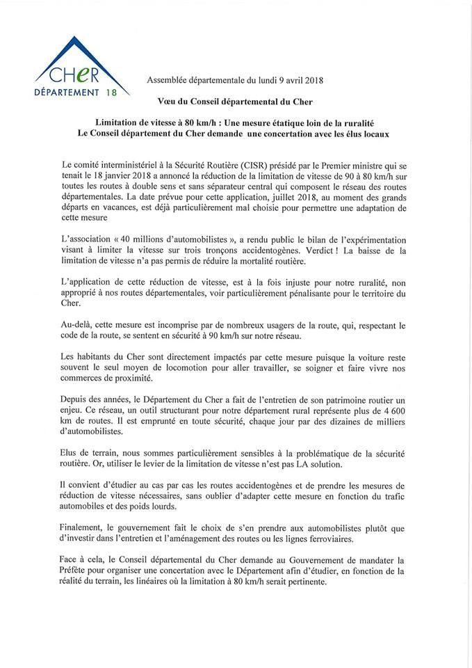 Le conseil départemental du Cher contre la limitation de vitesse à 80 km/h