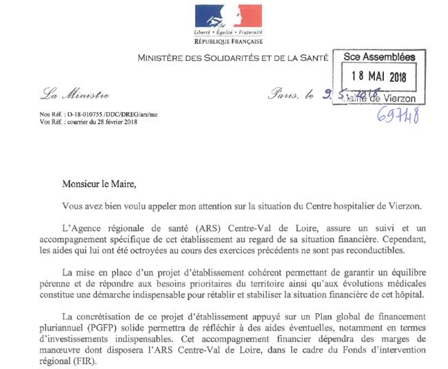 La ministre de la santé répond à un courrier de... février, pas au problème du SMUR de Bourges