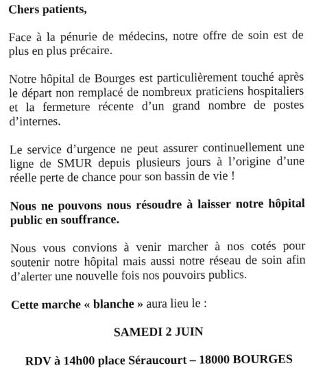 Marche blanche le 2 juin à Bourges, pour alerter de la mise en danger des patients
