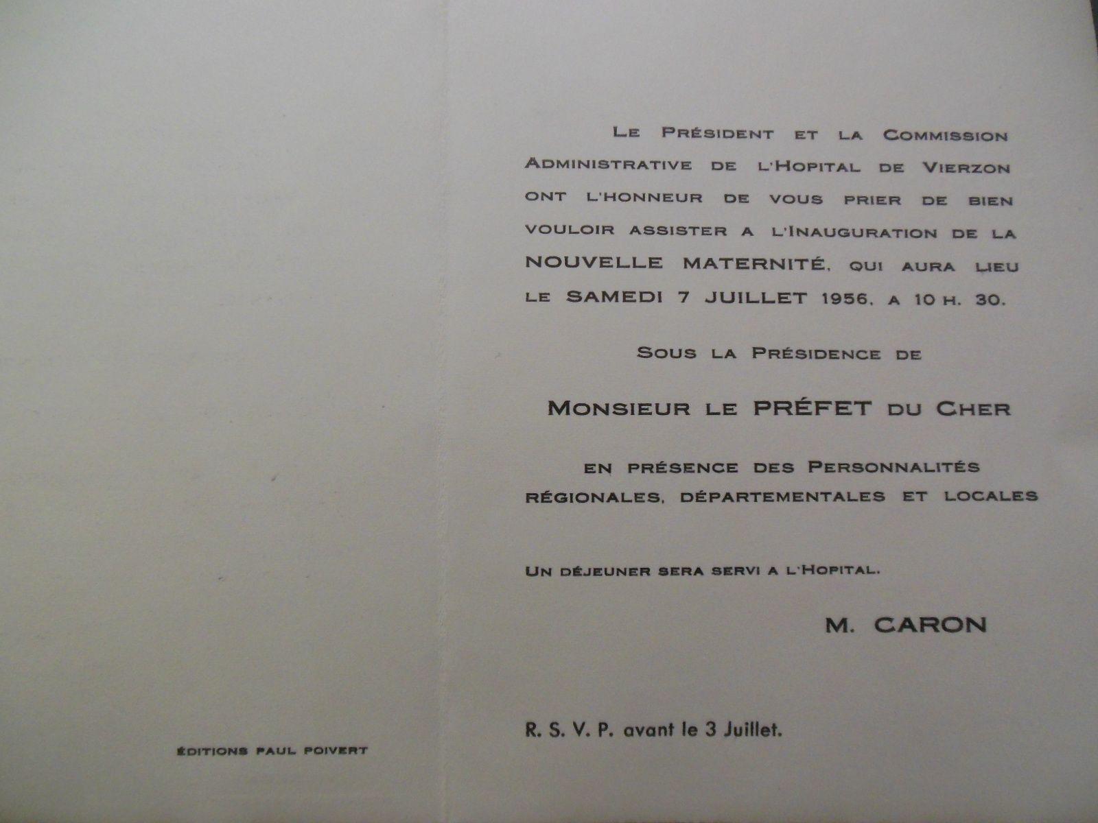 7 juillet 1956, naissance de la nouvelle maternité de Vierzon !