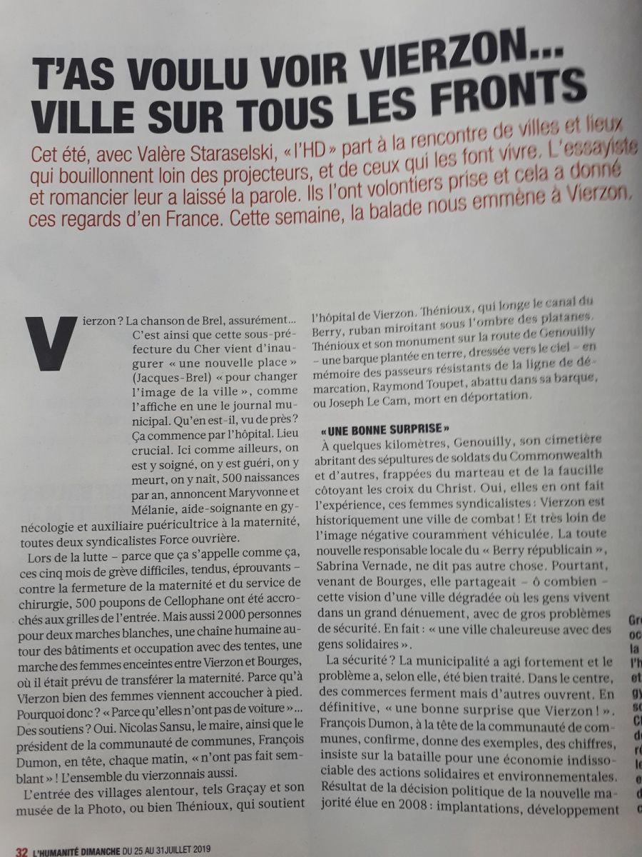 Article dans l'Huma sur Vierzon : ça doit coûter cher un tel publi reportage !