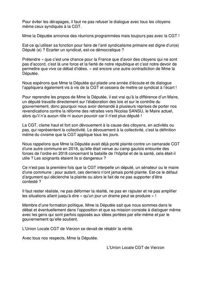 Plainte contre la CGT : le syndicat répond à la députée