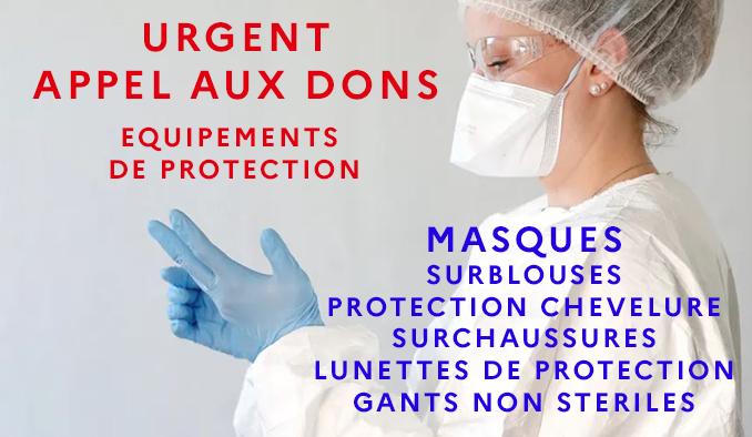 Appel urgent aux dons d'équipements de protection