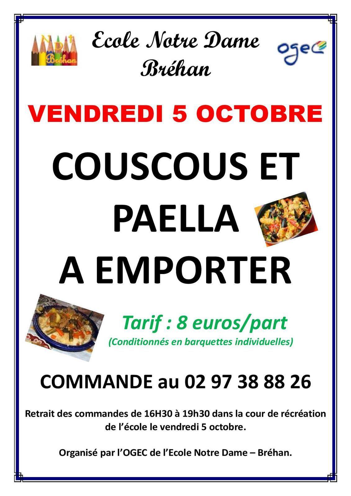 VENTE DE COUSCOUS / PAELLA A EMPORTER
