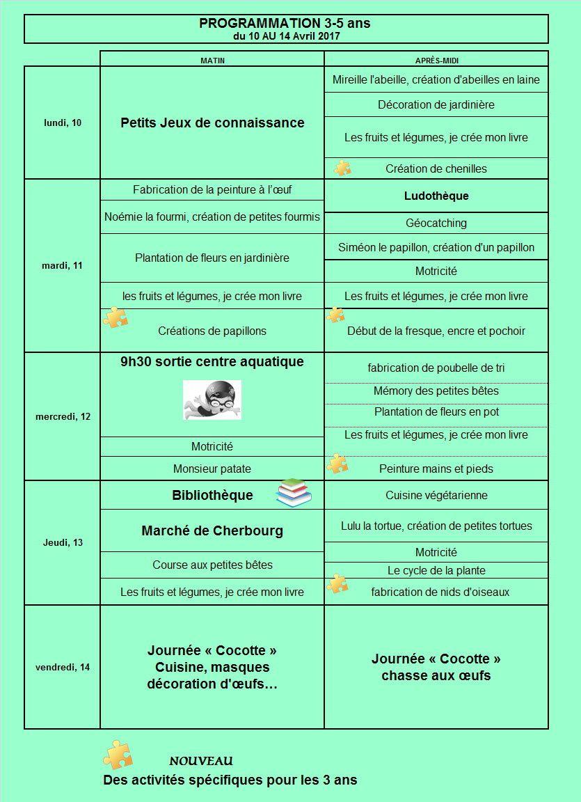 PROGRAMME ALSH VACANCES DU 10 AU 14 AVRIL