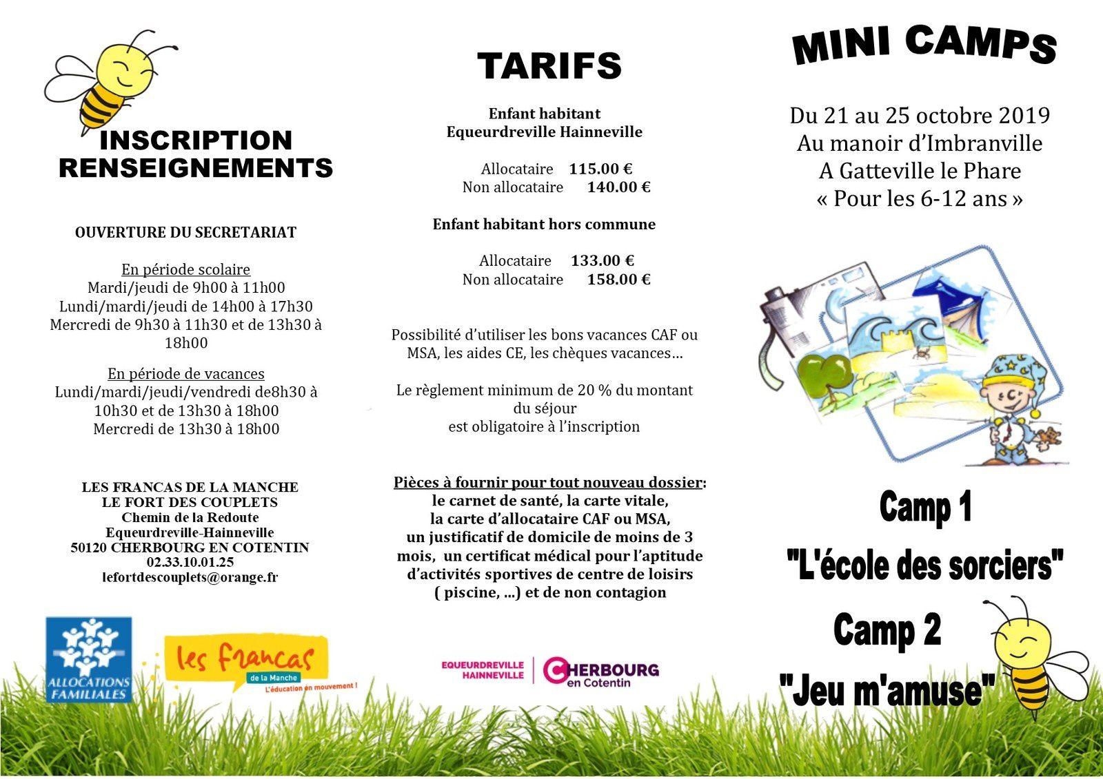 Mini camps vacances d'octobre 2019