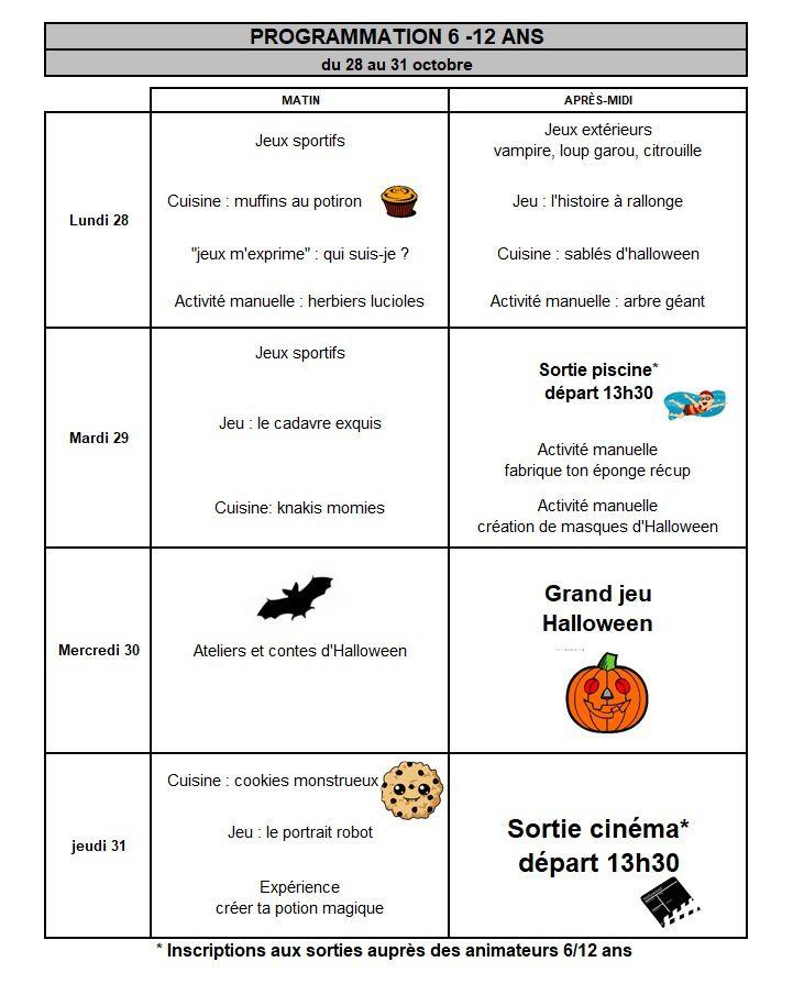 Vacances d'automne - programme du 28 au 31 octobre