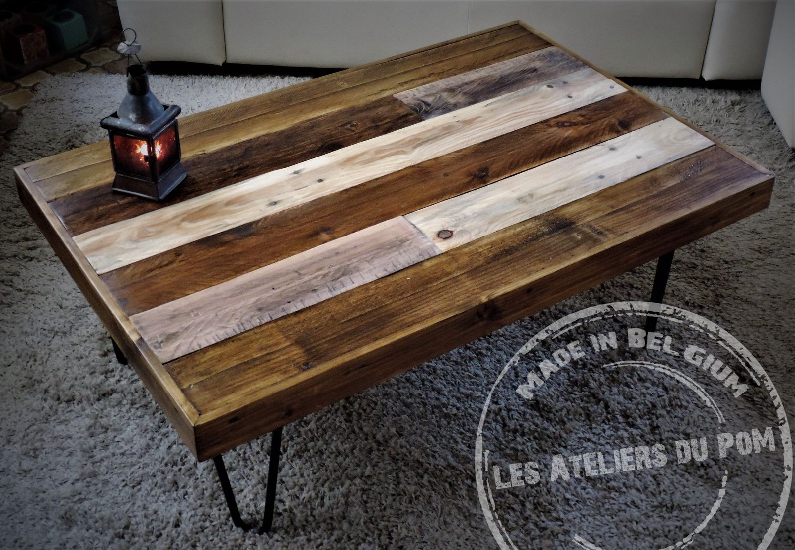 Table Basse De Salon En Bois De Palette Mod Le Patchwork Avec  # Table De Salon En Palette
